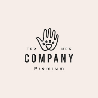 Hand love pet paw care hipster vintage logo
