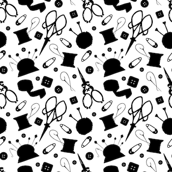 Hand made black silhouette elements isolated seamless pattern