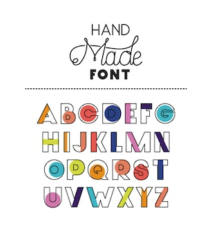 Hand made font alphabet