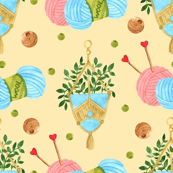 Hand made knitting watercolor seamless pattern