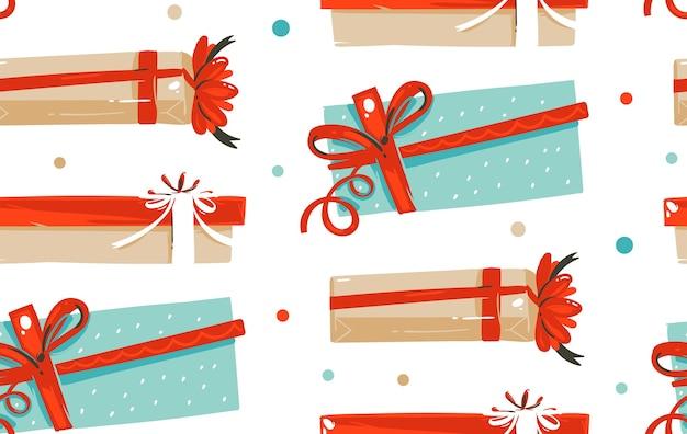 手作りのメリークリスマスデコレーションシームレスパターン