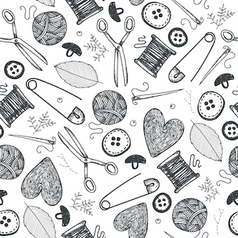 Hand made objects, equipment seamless pattern. hand drawn sewing and needlework doodle icons background. vintage isolated objects. needles, scissors, knitting, hearts