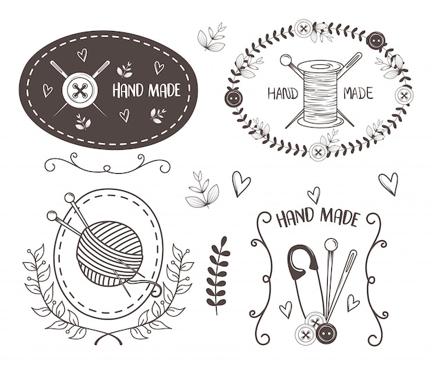 Hand made sewing set icons