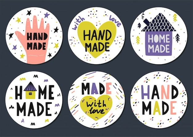 Hand made stickers set with lettering in scandinavian style