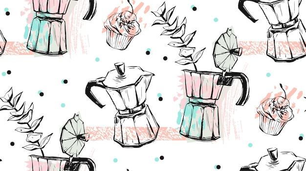 손으로 만든 간헐천 커피 메이커와 커피 개념의 벡터 추상 질감 된 원활한 패턴