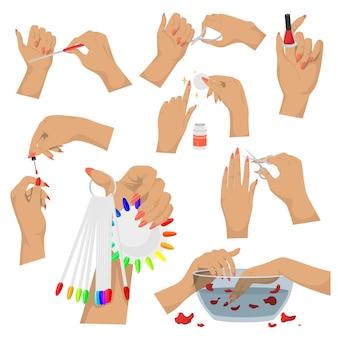 ハンドマニキュアセット、ベクトル分離イラスト。手と爪の美容トリートメント、衛生。マニキュアツールとアクセサリー。ネイルアートスタジオ、スパサロンサービス。