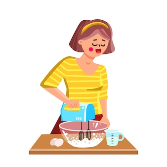 소녀 벡터를 사용하여 핸드 믹서 주방 장비입니다. 젊은 여자 요리 및 전자 장치 믹서를 사용합니다. 캐릭터 요리사 요리사 맛있는 식사 또는 빵집 파이 플랫 만화 일러스트를 준비