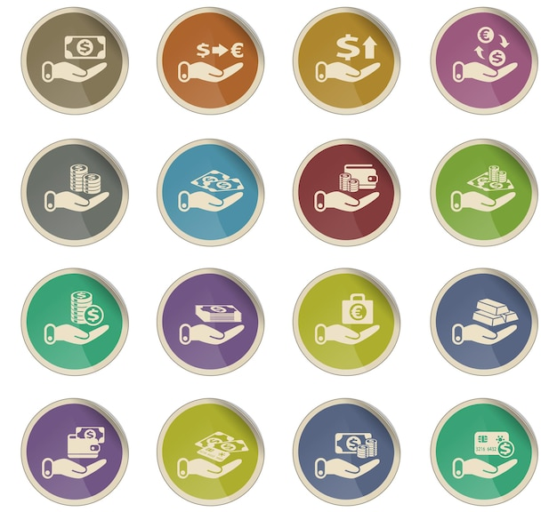 Hand and money vector icons in the form of round paper labels
