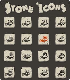 Hand and money vector icons for web and user interface design