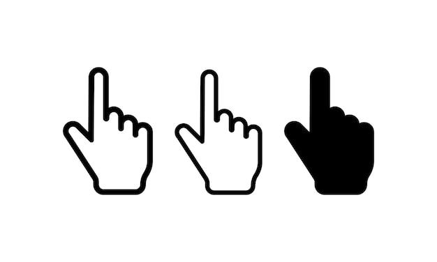 손 마우스 커서 아이콘 세트입니다. 컴퓨터 포인터 기호입니다. 벡터 eps 10입니다. 흰색 배경에 고립.