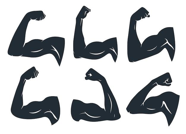 Силуэт мышцы руки. сильные мышцы рук, твердые бицепсы и силовой тренажерный зал. логотип фитнеса подмышек, бицепс парня-культуриста или значок силы рук. набор изолированных векторных иконок трафарет