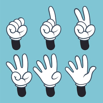 Hand numbers. cartoon hands people in glove, sign language palm two three one four finger count,  illustration