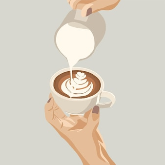 라떼 아트를 만드는 우유를 붓는 라떼 또는 카푸치노 커피를 만드는 바리스타의 손. 벡터 일러스트 레이 션
