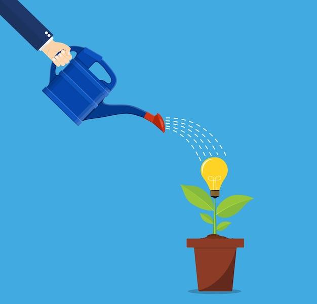 アイデアツリーに水をまくビジネスパーソンの手。
