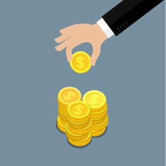 お金を与えるビジネスマンの手