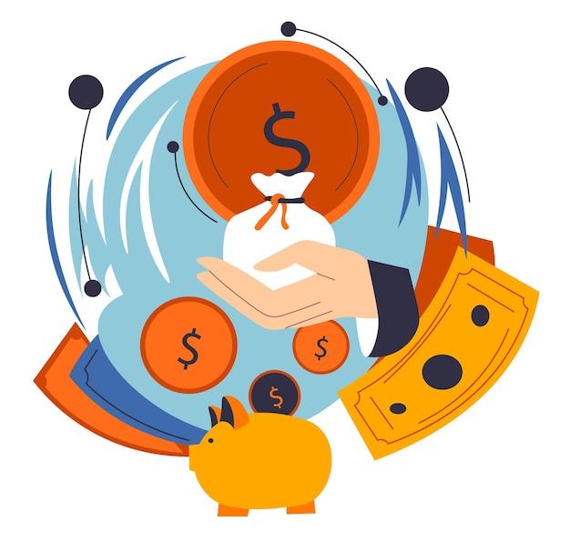손에 가방에 돈을 들고 있는 사업가의 손, 사업이나 일로부터 이익을 얻고 이익을 얻습니다. 금융 자산의 저축 및 투자, 적립금. 돼지 저금통과 동전입니다. 평면 스타일의 벡터