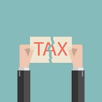 Рука бизнесмена слезы с налогом