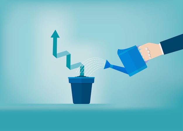 鍋の成長グラフに水をまくビジネスマンの手。起業コンセプト。成功、キャリア、達成、ベクトルイラストフラット