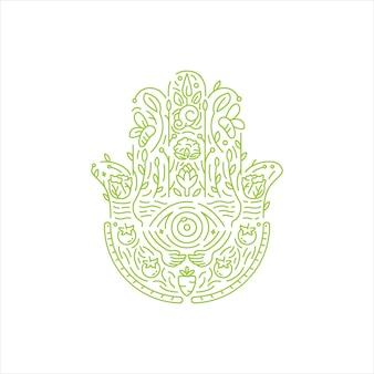 파티마 로고 개념의 손입니다. 손 제스처와 농업 로고