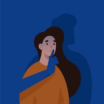 여자의 입을 덮고 남자의 손입니다. 가정 폭력과 학대. 여성 컨셉 일러스트에 대한 폭력을 중지하십시오.