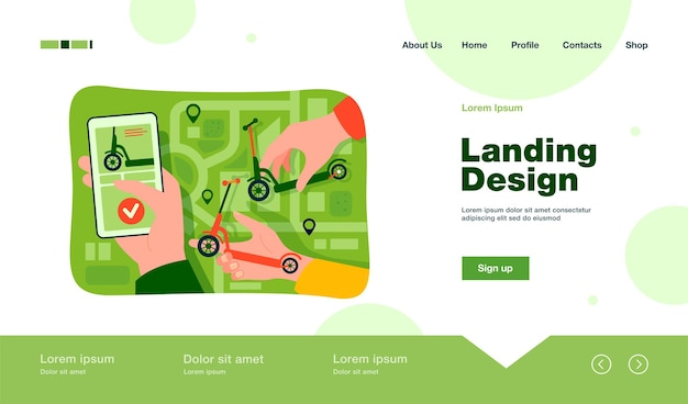 Рука человека, использующего аренду скутера или приложение для обмена с картой города на целевой странице смартфона в плоском стиле