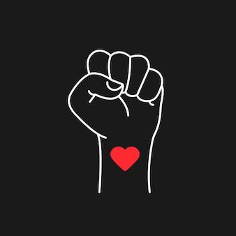 ハートのシンボルで抗議の手。ブラック・ライヴズ・マターの抗議アイコン。ベクトルeps10