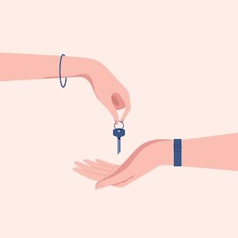 부동산 중개인의 손은 고객의 손에 집 문 열쇠를 제공합니다. 렌탈 구매 또는 집 임대 일러스트레이션