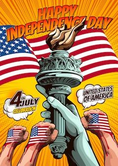 自由の女神像、独立記念日、黄色の背景にコミックカバーテンプレートの手。