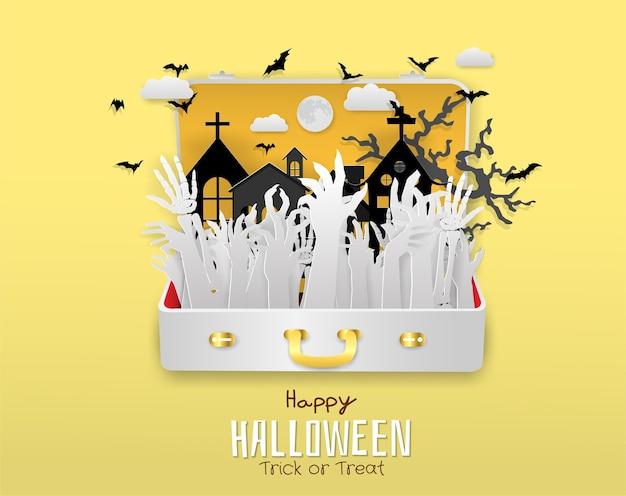 Рука зомби, скелет в дорожной сумке, хэллоуин, трюк или лечение