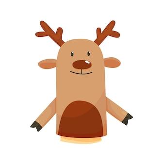 손 또는 손가락 인형은 인형 사슴을 재생합니다. 어린이 극장, 어린이 게임을위한 만화 색 장난감.