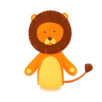 手または指の人形は人形のライオンを演じます。子供劇場、子供向けゲーム用の漫画の色のおもちゃ。キュートで面白い動物のキャラクター、白い背景の上の孤立したアイコン。