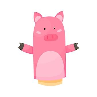 手または指の人形は人形の豚を演じます