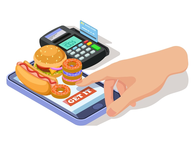 Hand ordering food with phone