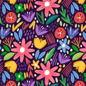 Motivo floreale astratto dipinto a mano