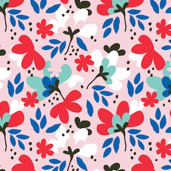 손으로 그린 추상 꽃 패턴