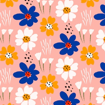 Hand painted abstract floral pattern Premium Vector