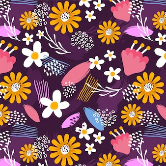 Hand painted abstract floral pattern Free Vector