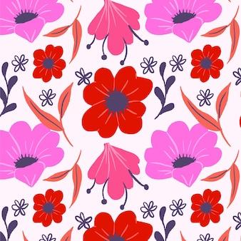 손으로 그린 추상 꽃 패턴 무료 벡터