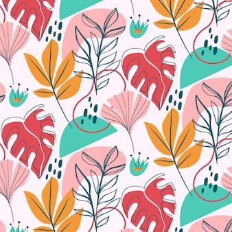 손으로 그린 추상 나뭇잎 패턴 디자인