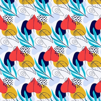 Hand painted abstract leaves pattern design