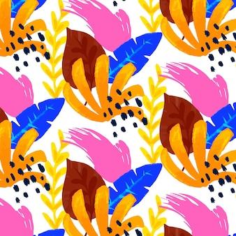 손으로 그린 추상 나뭇잎 패턴