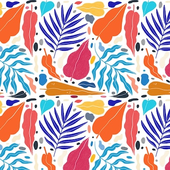 Hand painted abstract leaves pattern