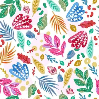 手绘抽象风格的树叶图案
