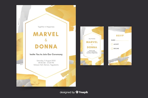 Hand painted abstract wedding invitation template