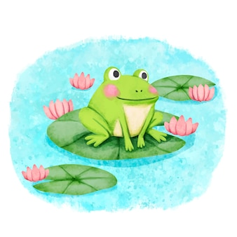 Hand painted adorable frog illustration