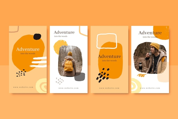 Hand painted adventure instagram stories collection with photo