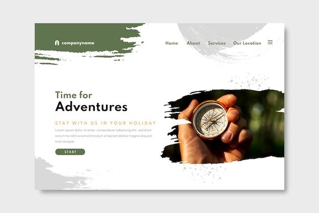 Раскрашенный вручную шаблон целевой страницы приключения с фотографией