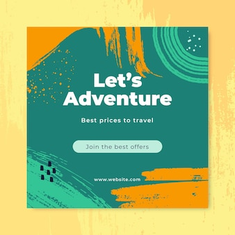 Hand painted adventure social media post template