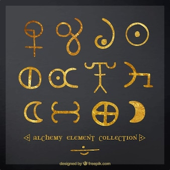Hand painted alchemy symbols