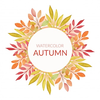 Hand painted autumn border with watercolor leaves